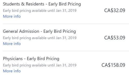 early bird ticket prices